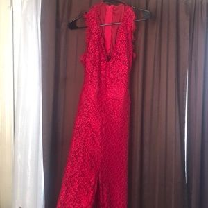 Red Lacey halter pant romper.